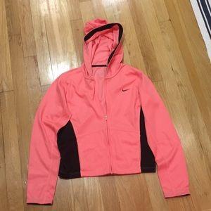Nike peach and brown XS full zip hoody; cute!